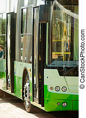 new trolleybus standing at the bus stop