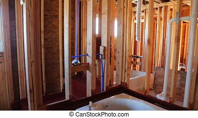 New under construction bathroom interior with interior...