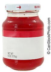 New unopened 6oz bottle of maraschino cherries over white...