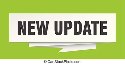 new update sign. new update paper origami speech bubble. new...