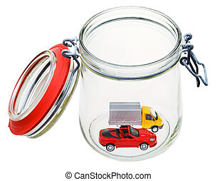new vehicle in glass jar