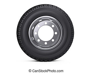 New vehicle truck tire. Big car wheel with disk front view.