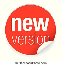 New version label tag red vector