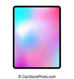 New version of realistic frameless premium tablet mock up in trendy thin frame design