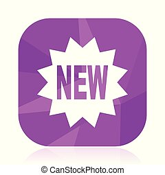New violet square vector web icon. Internet design and webdesign button in eps 10. Mobile application sign on white background.