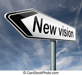 new vision innovation and brigth new brilliant idea or invention other point of view
