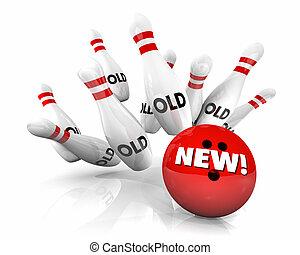 New Vs Old Bowling Ball Strike Pins 3d Illustration