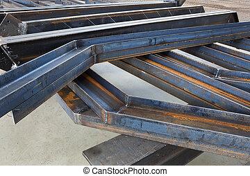welded metal beams - new welded metal beams on modern plant