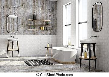 New white brick bathroom