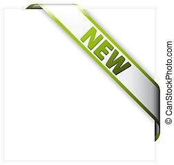 New white corner ribbon with green border