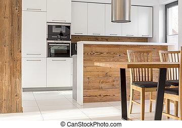New white kitchen with island