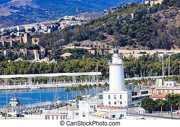 White Lighthouse in Malaga Harbor