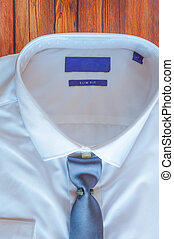 New white shirt with blue necktie