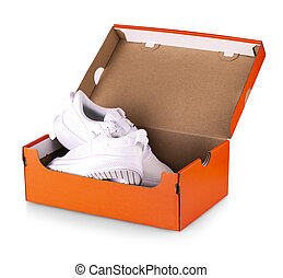New white sneakers shoes in red box.