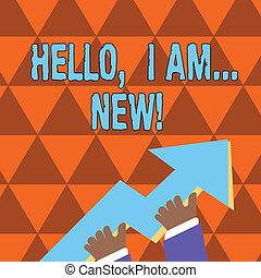 new., wijzende, foto, telefoon, boven., reusachtig, kleurrijke, schrijvende , gaan, vasthouden, conceptueel, 3d, beginnen, gebruikt, zakelijk, het tonen, hand, groet, of, gesprek, richtingwijzer, showcasing, hallo