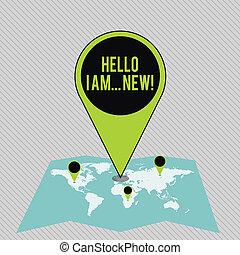 new., wijzende, tekst, telefoon voorteken, teken, reusachtig, spelden, gebied, plaats, foto, conceptueel, navigatiesysteem, beginnen, gebruikt, kleurrijke, het tonen, adres, map., groet, of, gesprek, hallo