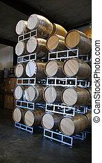 New Wine Barrels - A stack of new wine barrels awaiting...