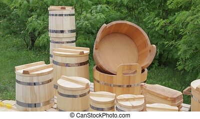 New wood - tub,bucket,mug and utensils - New wooden...
