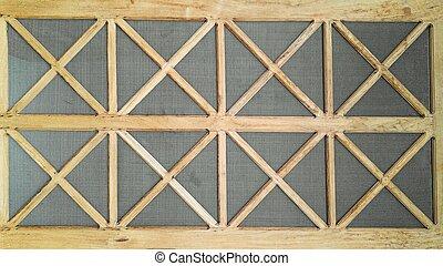 new wooden door design with steel mesh furniture