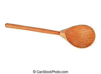 New wooden spoon isolated on a white background