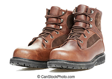 new work wear boots on white background - A pair of new work...