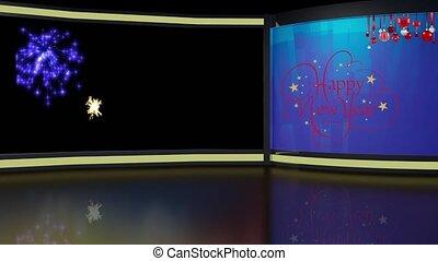 New Year 01 TV Studio Set-Virtual Green Screen Background...
