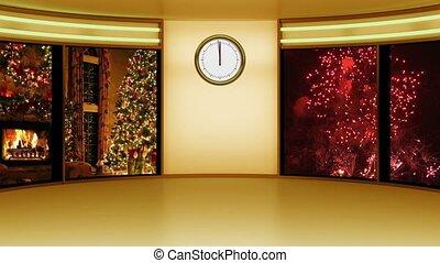 New Year 02 TV Studio Set-Virtual Green Screen Background Loop