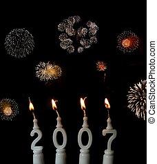 New Year 2007 - 2 - New Year celebration: burning candles ...
