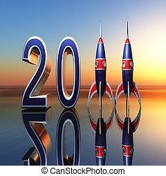 A New Year celebration background 2011 with rockets standing for eleven against horizon.