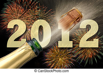 new year 2012 and champagne - happy new year party 2012 with...