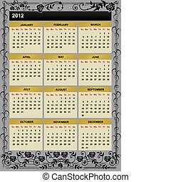 New Year 2012 calendar - 2012 vector calendar with branches ...