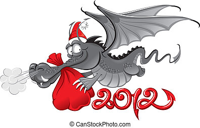 new year 2012 : Cheerful Dragon with a large christmas bag -...