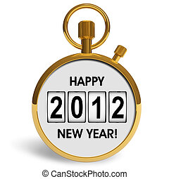 New Year 2012 concept: golden storwatch with greeting text...