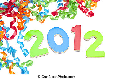 New Year 2012 Concept with Year and Party Streamers on White...