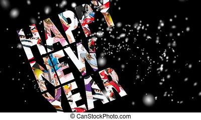 New Year 2012, motion card, snowfall, loop, HD, 1080i.
