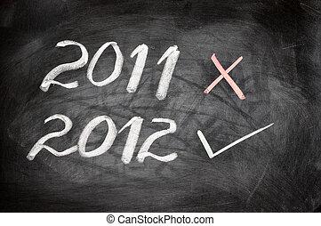 New year 2012 written on a blackboard