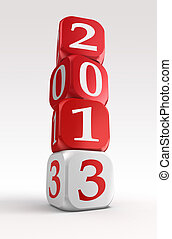 new year 2013 3d red and white box tower on white...