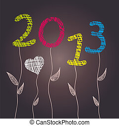 New Year 2013 Celebration - Abstract flowers. Vector illustration. Eps 10.