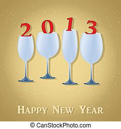 New Year 2013 Celebration - Stylish Wine Glass. Vector illustration. Eps 10.