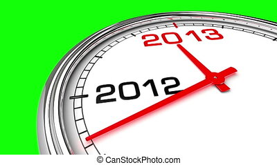 Clock countdown from year 2012 to 2013. Perfect for your own background, clean mask on green screen.