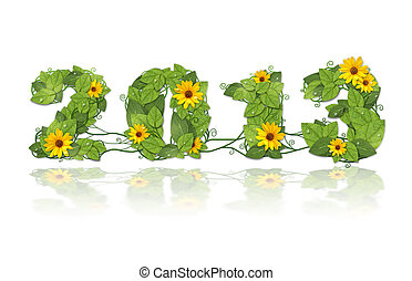 New year 2013. Date lined green leaves and flower.