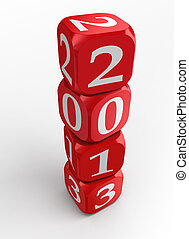 new year 2013 dice tower - new year 2013 3d red and white...