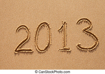 new year 2013 digits on ocean beach sand