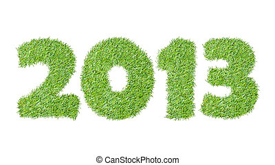 New year 2013 from the green grass, isolated on white