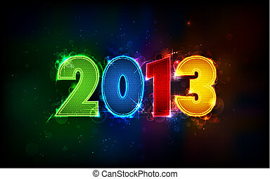 New Year 2013 - illustration of shiny 2013 in happy new year...