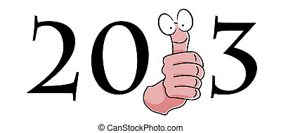 New year 2013 logo with smiling thumbs up