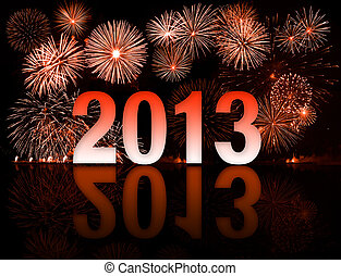 New year 2013 numbers with fireworks