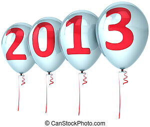 New Year 2013 party balloons white