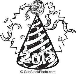 New Year 2013 party hat - Doodle style New Year's Eve ...