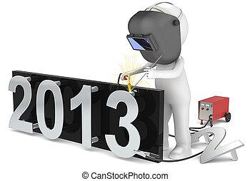 New Year 2013. - 3D little human character the Welder,...
